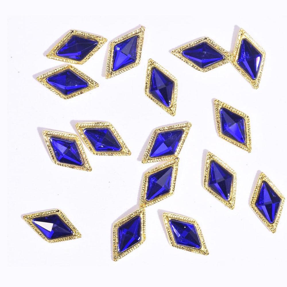 10 Uds. Arte de aleación 3D para uñas corona de diamantes de imitación/cuadrado/rombo diamantes de cristal piedra joyería 2020 nuevos accesorios Strass JE379-JE406