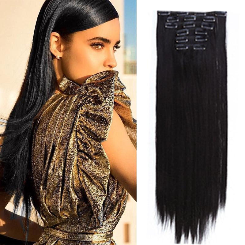 Extensiones de Cabello sintético LUPU de 16 Clips en postizos de pelo Natural de fibra de alta temperatura para mujeres