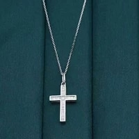 100 18k gold natural diamond necklace pendant womens cross faith token with certificate
