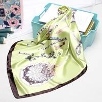 luxury kerchief bandana head scarf for women fashion print silk satin hair scarfs female 9090cm square shawl scarves for ladies