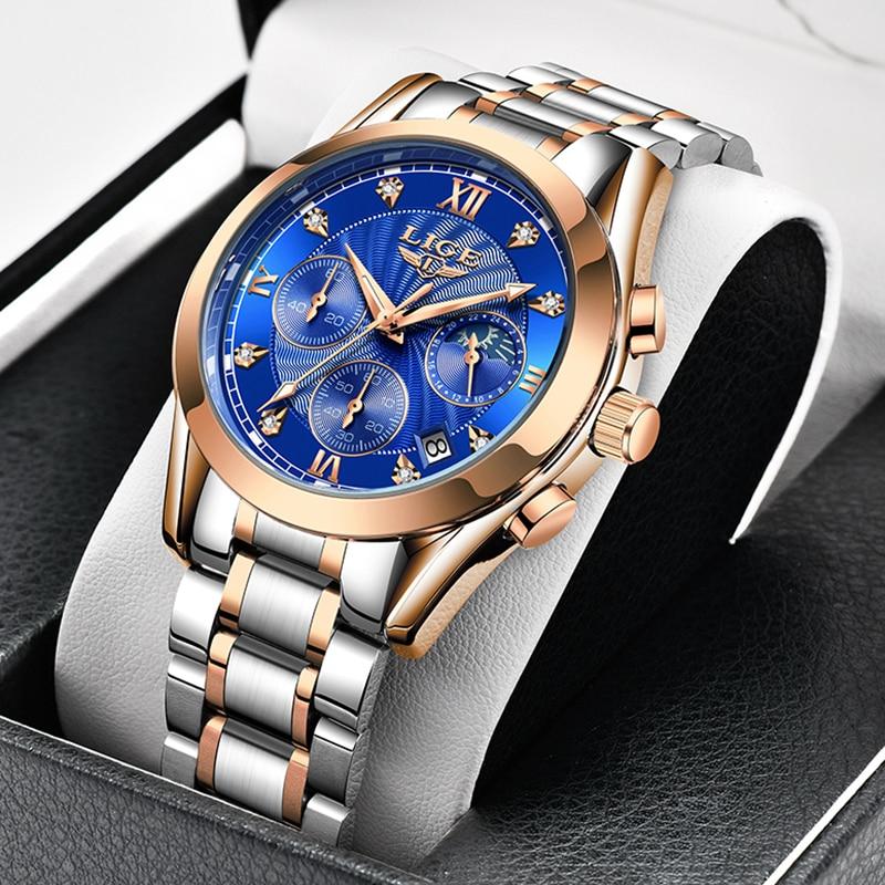LIGE-ساعة كوارتز كلاسيكية للنساء ، سوار ساعة من الفولاذ المقاوم للصدأ ، مقاوم للماء ، عصري ، هدية ، تاريخ ، 2021