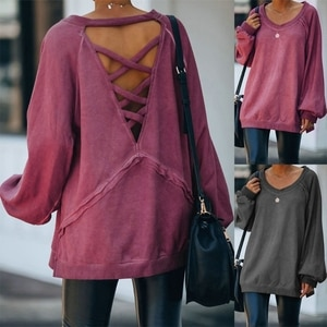 Women Autumn Long Sleeve Crew Neck Sweatshirt Sexy Hollow Out Criss Cross Backless Tunic Top Solid Color Oversized Loose Pullove