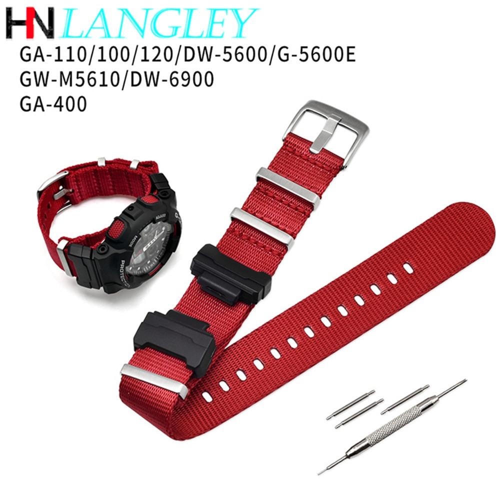 Nylon NATO Replacement Watchband for Casio G-Shock GA-110/100/120/150/200/400 GD-100/110/120 DW-5600 GW-6900 Bracelet Strap Band