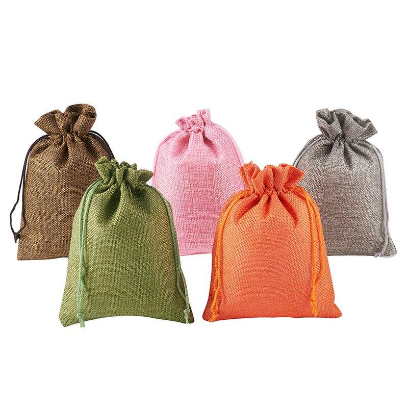 10 Uds. Bolsas de embalaje de arpillera de colores mezclados 18x13cm bolsas con cordón para embalaje de joyería bolsas de regalo bolsas de dulces de boda bolsas de arpillera