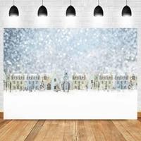laeacco winter snowflake light bokeh glitter cartoon house christmas backdrop photographic photo background for photo studio