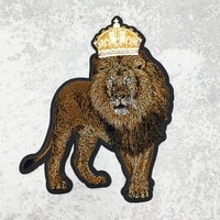 domineering toothbrush embroidery crown lion biker rock patch for clothing jacket denim coat diy iron on sticker accessories