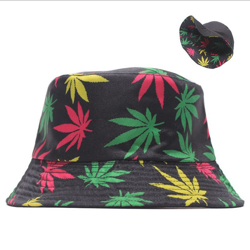 Hot Spring and Summer Fisherman Hat Women's Cotton Maple Leaf Printed Hat Bucket Hat Men's Korean-Style Sunbonnet Sun Hat