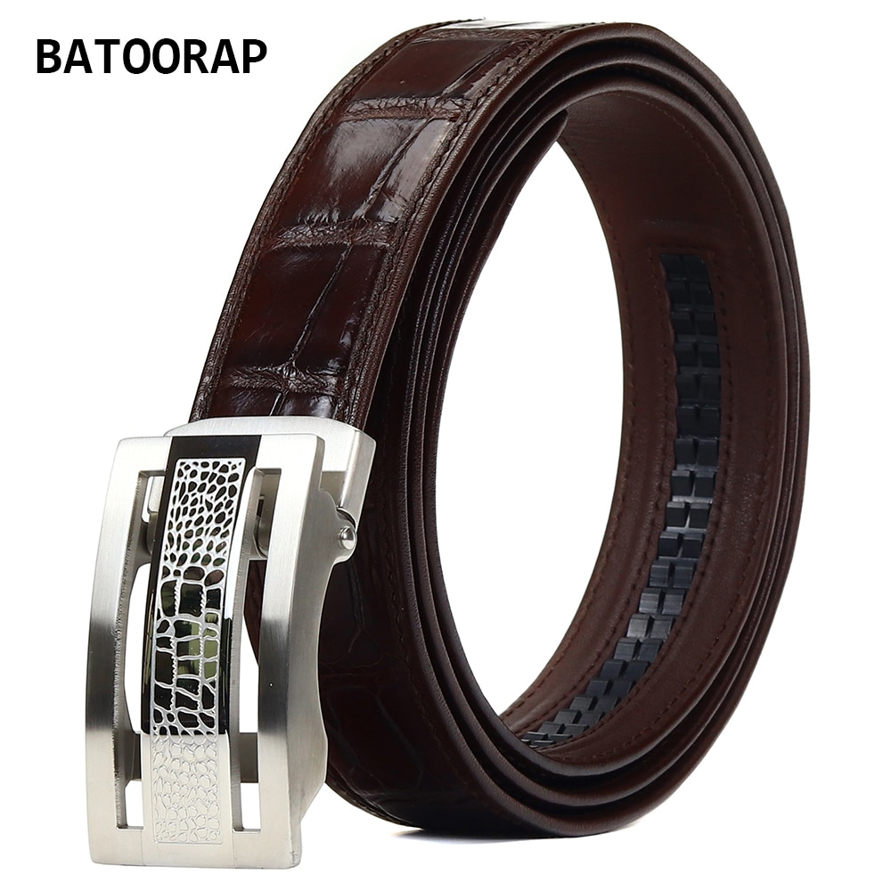 2021 Top High-end Business Crocodile Belly Belt Brand Designer Men's Belt Brown Casual Luxury Stainless Steel Automatic Buckle