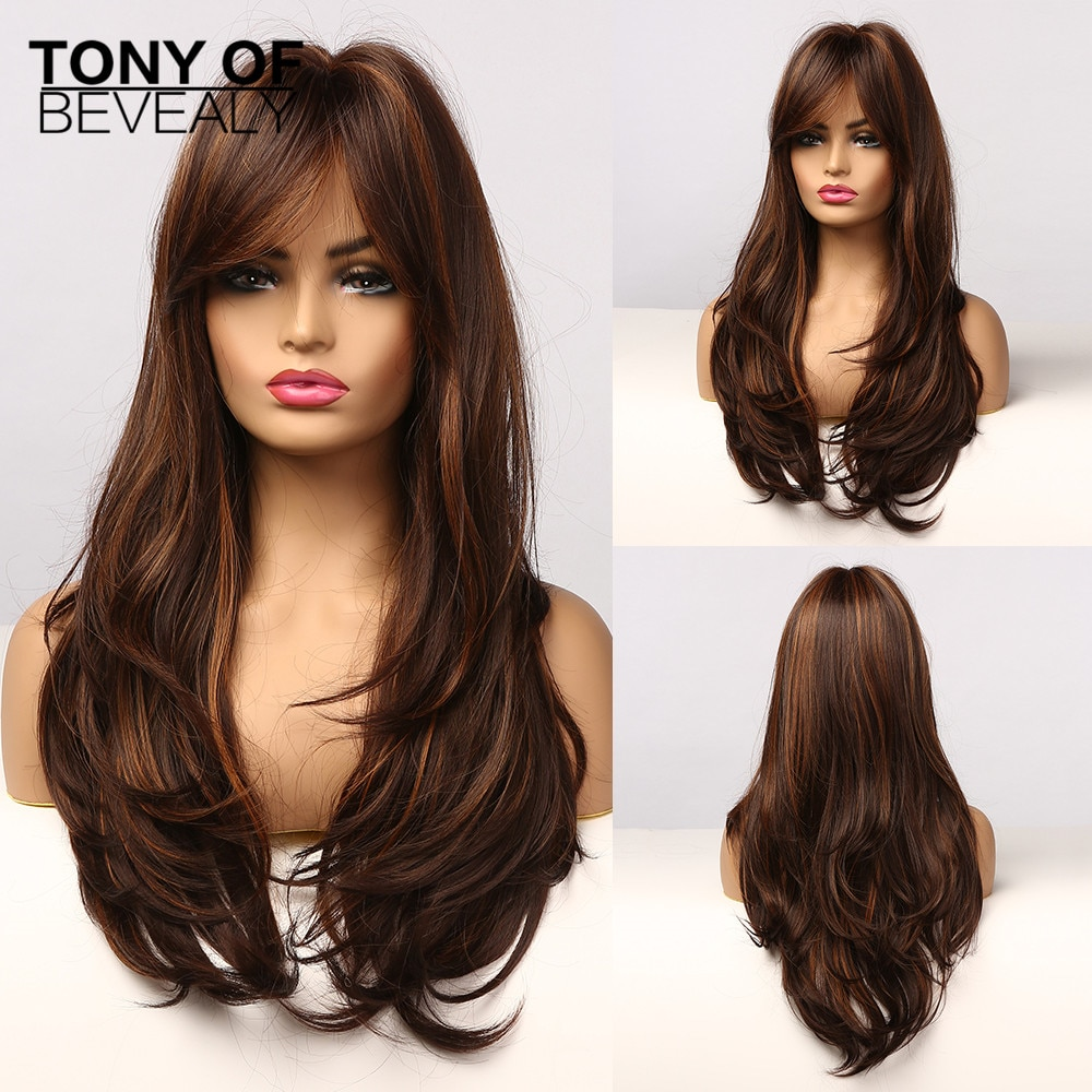 Long Brown With Golden Highlight Wig Natural Wavy Womens Synthetic Wig With Bangs Heat Resistant Cosplay Hair for Women Afro