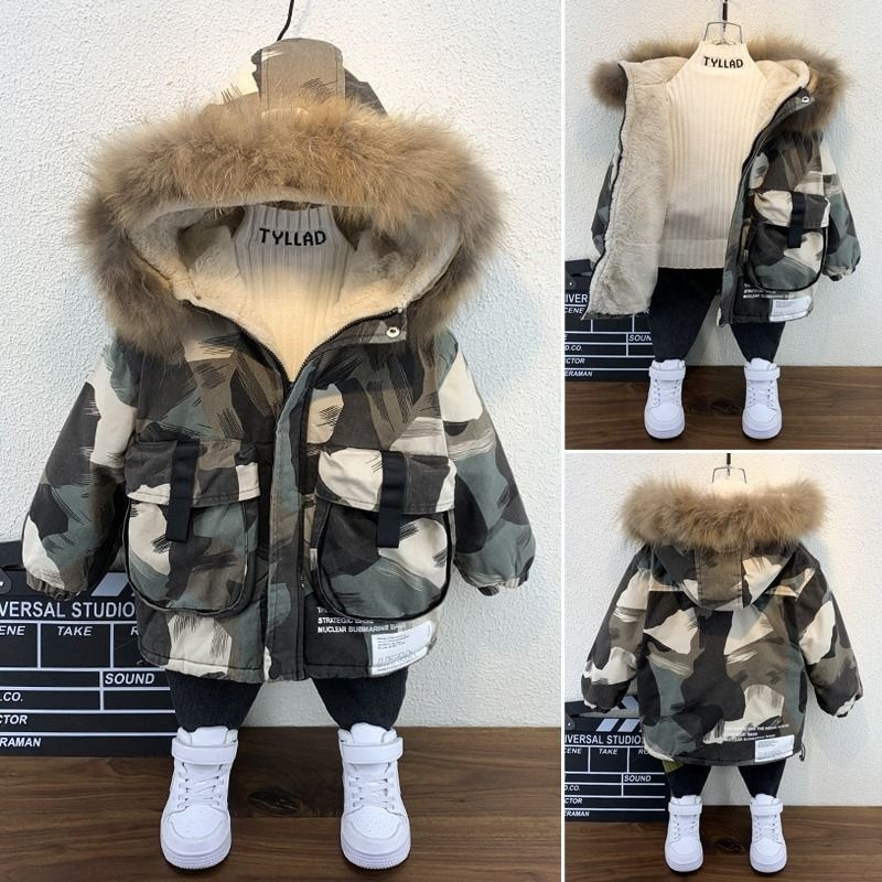 Baby Toddler Little Boys Girls Winter Camouflage Coats Fur Hooded Jacket 2021 Kids Warm Fleece Outer