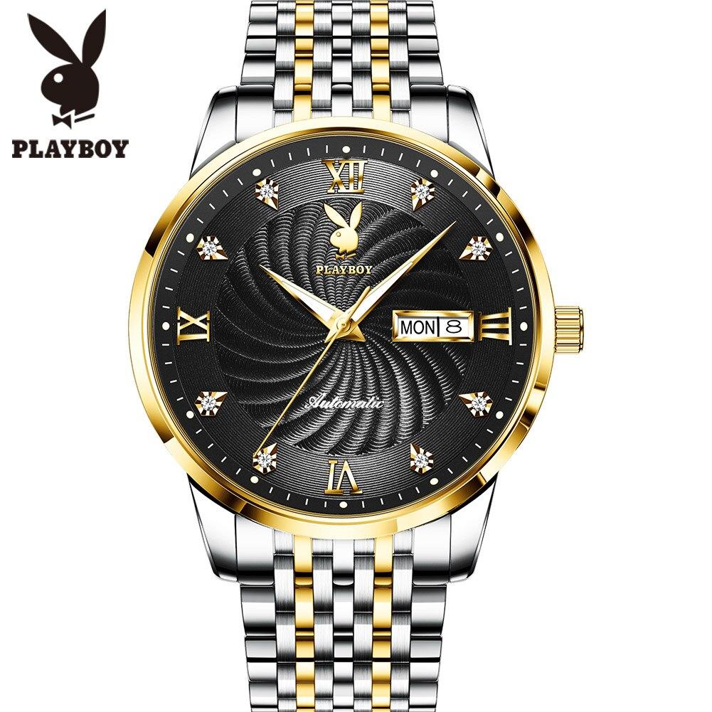 Playboy Men Mechanical Watch Luxury Automatic Watch Sport Stainless Steel Luminous Waterproof Wristwatch Men relogio masculino