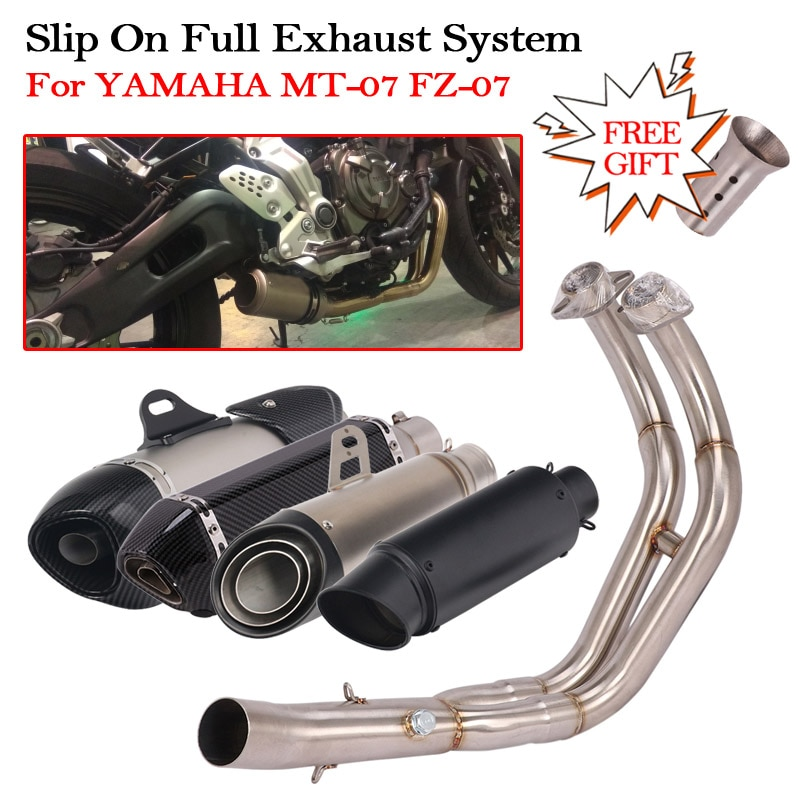 Motorcycle Full Exhaust System For YAMAHA MT-07 FZ-07 MT07 FZ07 Modified Escape Muffler DB Killer Front Middle Connect Link Pipe