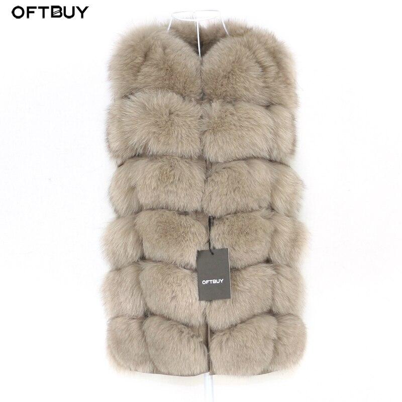 OFTBUY primavera Chaleco de piel de zorro Real mujeres sin mangas chaqueta de invierno Chaleco de piel Natural chaleco grueso ropa de calle cálida