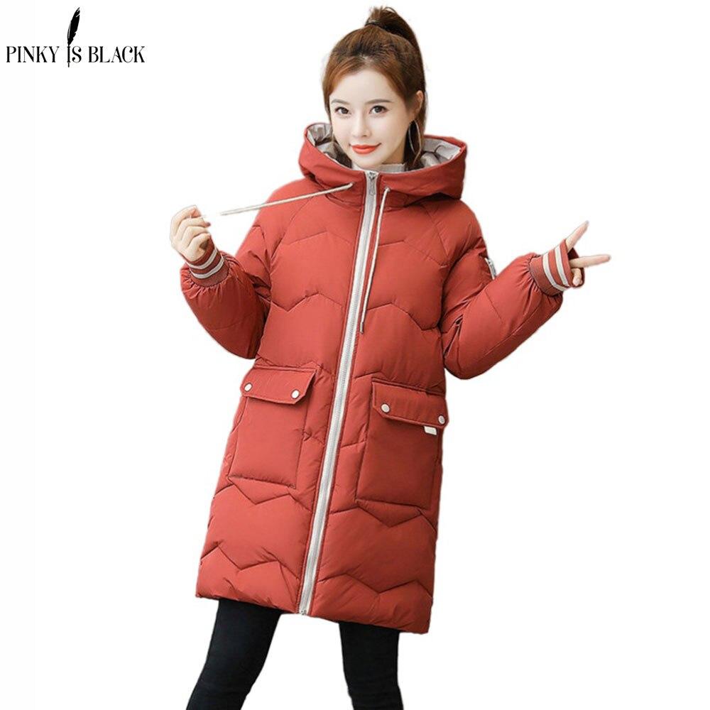 PinkyIsBlack Plus Size 3XL Women Winter Jacket Hooded Stand Collar Cotton Padded Female Winter Coat Women Warm Thick Long Parkas недорого