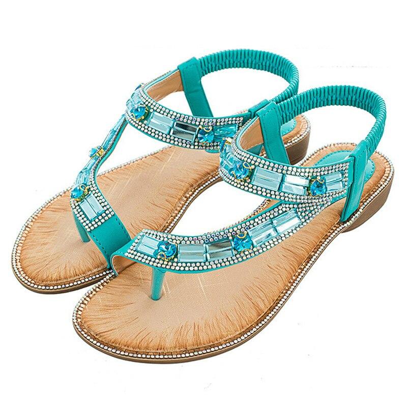 Zapatos De verano para Mujer, sandalias De moda De color rojo azul estilo bohemio, Zapatos De playa De suela plana con rayas enrejadas para Mujer