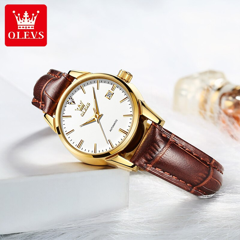 OLEVS 2021 New Ladies Business Automatic Mechanical Watches 30M Waterproof Luminous Leather Strap Weekly Calendar Display 6629 enlarge