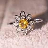 charm delicate sunflower rings daisy flower with yellow zircon womens simple wedding jewelry daily wear silvery accessories