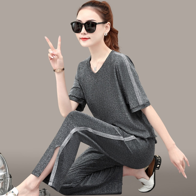 Women Sportswear Tracksuit Loose Quickly Dry wide leg pant+Sweatshirt Running Jogger Fitness Gym Workout Casual Set Sport Suit