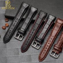 Pulseira de couro genuíno curva fim assista strap 20mm para BL9002-37 05a BT0001-12E 01a pulseira de relógio 21mm 22mm
