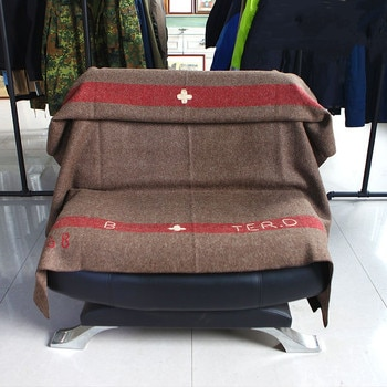 100% Wool Blanket Weighted Thick Swiss Military Blankets Throw Army Embroidery Pattern for Beds Travel Sofa Picnic Knitted Solid