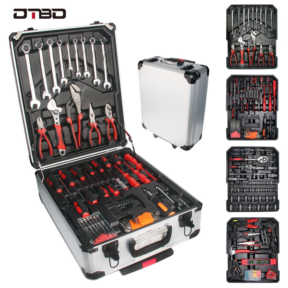 DTBD 187pcs lever tool Socket Wrench Set Professional Auto Repair Tool Kit Hardware Toolbox Car Boat Repair Tool Set