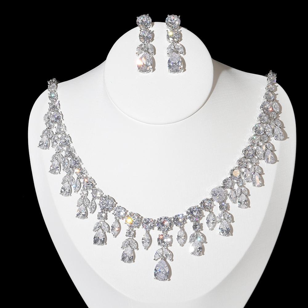 الفاخرة AAA زركون شرابة الزفاف قلادة ، لامعة الوهج مجوهرات مجموعة المرأة الزفاف اللباس اكسسوارات X-0047