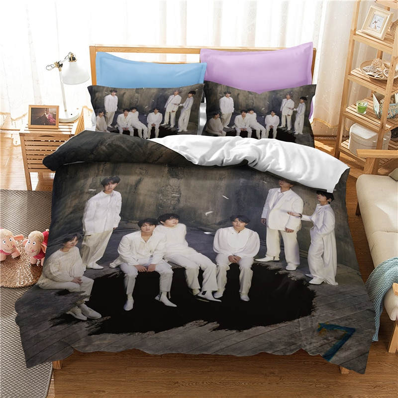 Gran oferta Popular coreana artistas Bangtan niños impreso ropa de cama Set edredón cubierta funda de almohada doble completo reina rey envío gratis