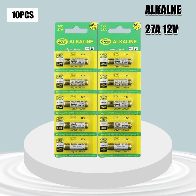 10 unids/lote 12V 27A A27 alarma remota alcalinas secas de las células...