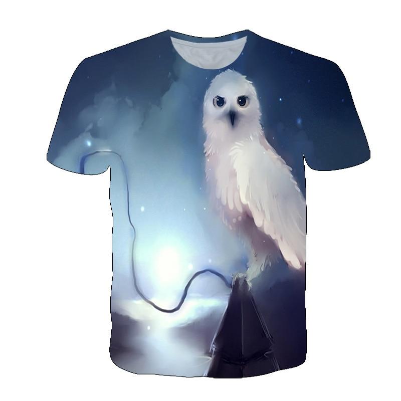 2021 New Summer Animal 3D Print Owl T shirt Boys Girls Casual Fashion Streetwear Clothing Boys Girls Lovely Animal t shirt