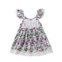 2 7 years baby girl floral cotton dress sleeveless clothes with lace flower backlace sundress for girl kids