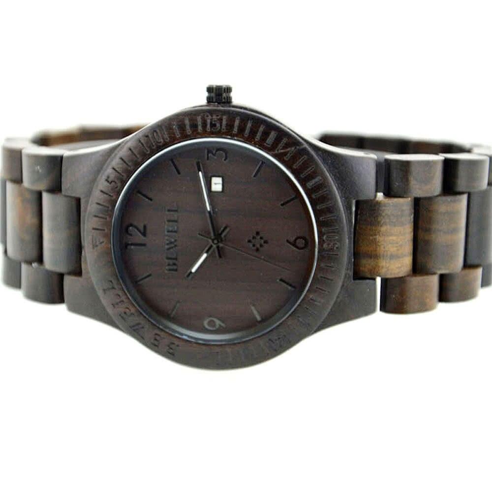 【USA Warehouse】BEWELL High-quality Brand Fashion Wood Quartz Watch Water-resistant Luminous Men Women Zebrano Wooden Casual Wris