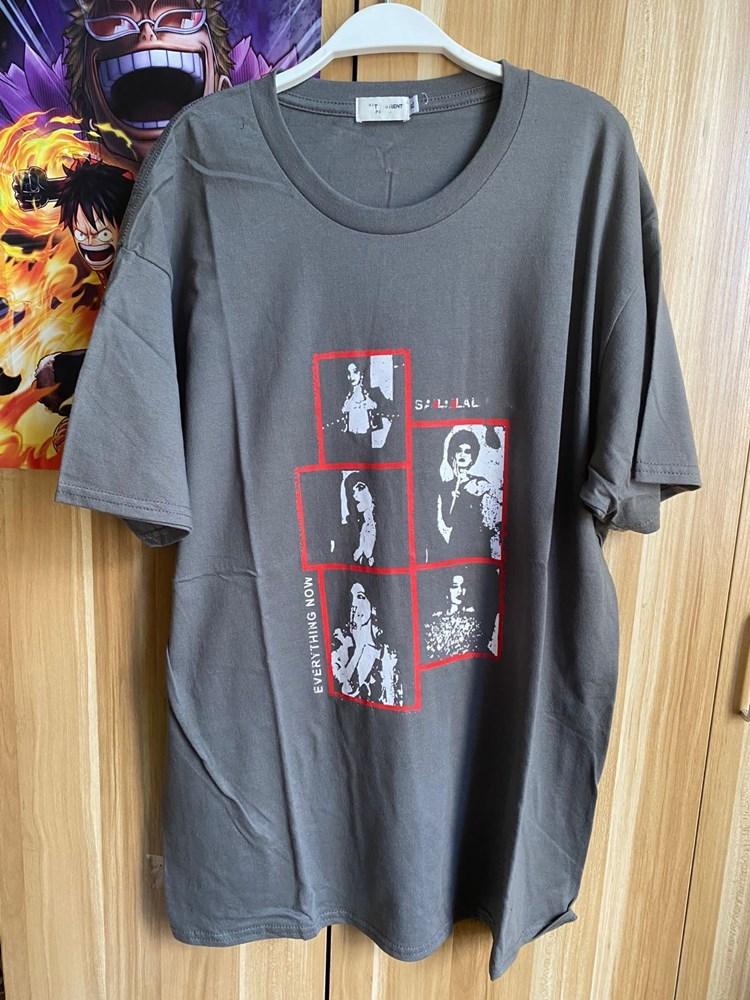 100% nova marca sl carta impressão camiseta feminina plus size manga curta topo cinza camiseta S-2XL