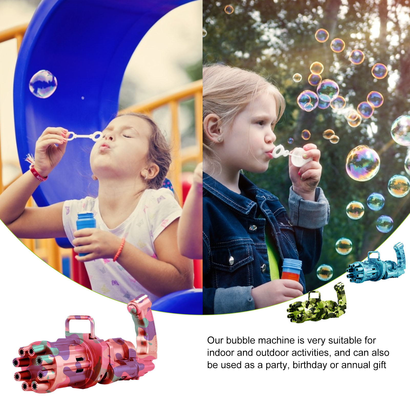 Kids Electric Soap Bubble Gun Toy Camouflage Gatling Bubble Machine Automatic Bubbles Blower Children Summer Outdoor Toys  - buy with discount