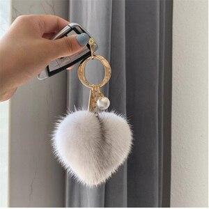 Big Fluffy Real Rex Rabbit Fur and Mink Fur Ball Heart Keychain Natural Fur Key Pendant For Women Bag Charm