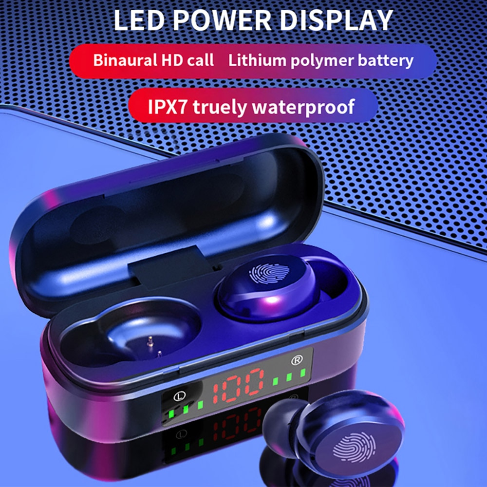 Bluetooth 5.0 Headset Wireless Earphone Bass Stereo Waterproof Headset with Microphone for Bluetooth Devices and Mobile Phones