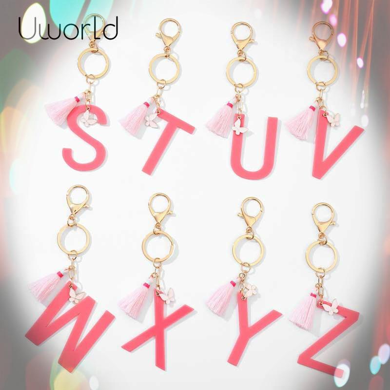 Chaveiro de borboleta, acessórios de chaveiro, charme, borboleta, borla, acrílico, ornamentos de letras, joias úteis, 26 alfabeto