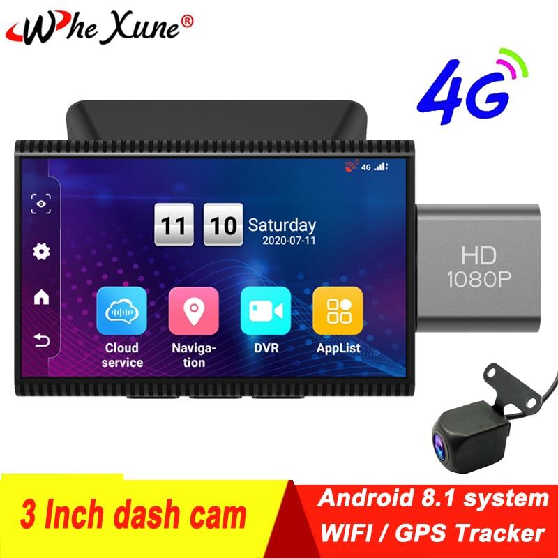Cámara de salpicadero inteligente WHEXUNE de 3 pulgadas 4G Android 8,1, para coche, grabación de vídeo DVR 1080P con función WIFI, cámara de visión trasera, monitoreo de aparcamiento