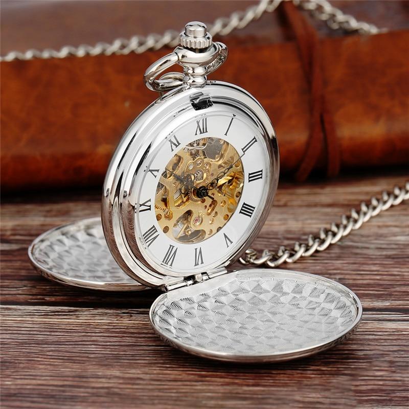Steampunk Silver Manual Handwinding Skeleton Mechanical Pocket Watch Double Hunter Necklace Clock Antique Reloj De Bolsillo