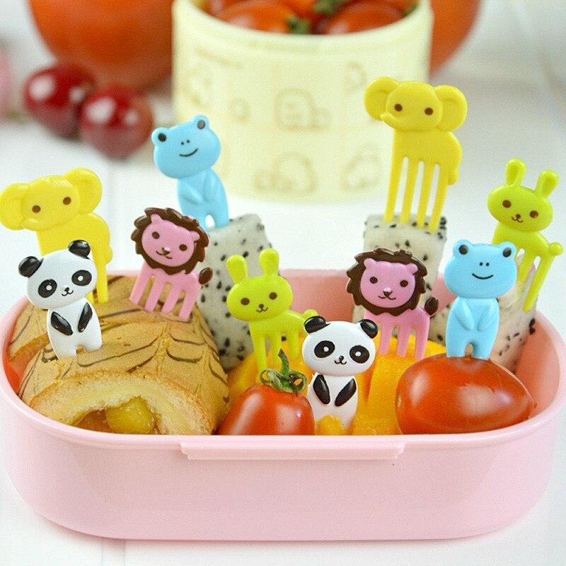 10 Uds. Para Bento Kawaii, comida de animales, palillos de frutas, tenedores, caja de almuerzo, accesorio de decoración, herramienta para Camping, Picnic, cocina