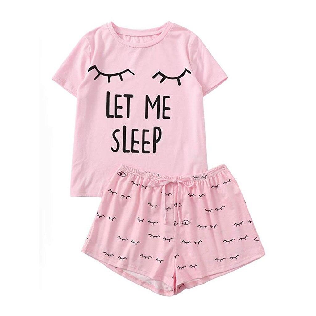 Женские повседневные шорты с коротким рукавом, футболка с принтом, одежда для сна, комплект пижам, женские пижамы для сна