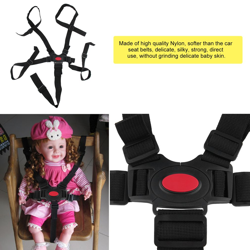 Universal 5 puntos arnés seguridad infantil silla alta cinturones de la correa de asiento cochecito de bebé cochecito arnés correa de la silla de paseo