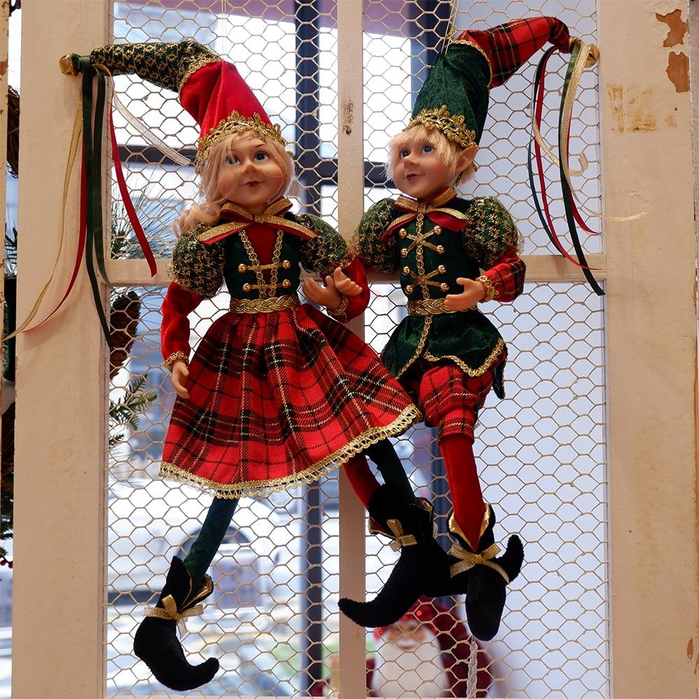 عيد الميلاد دمى قزم على الرف زينة للمنزل شجرة عيد الميلاد زخرفة زوجين الجان الأخضر والأحمر لطيف قبعة السنة الجديدة ديكور هدية