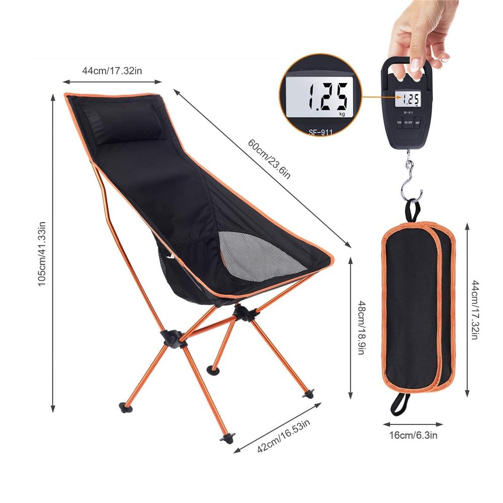 Silla portátil para acampar al aire libre, asiento de acampada largo plegable de tela Oxford para pesca, barbacoa, Festival, Picnic, playa, ultraligera