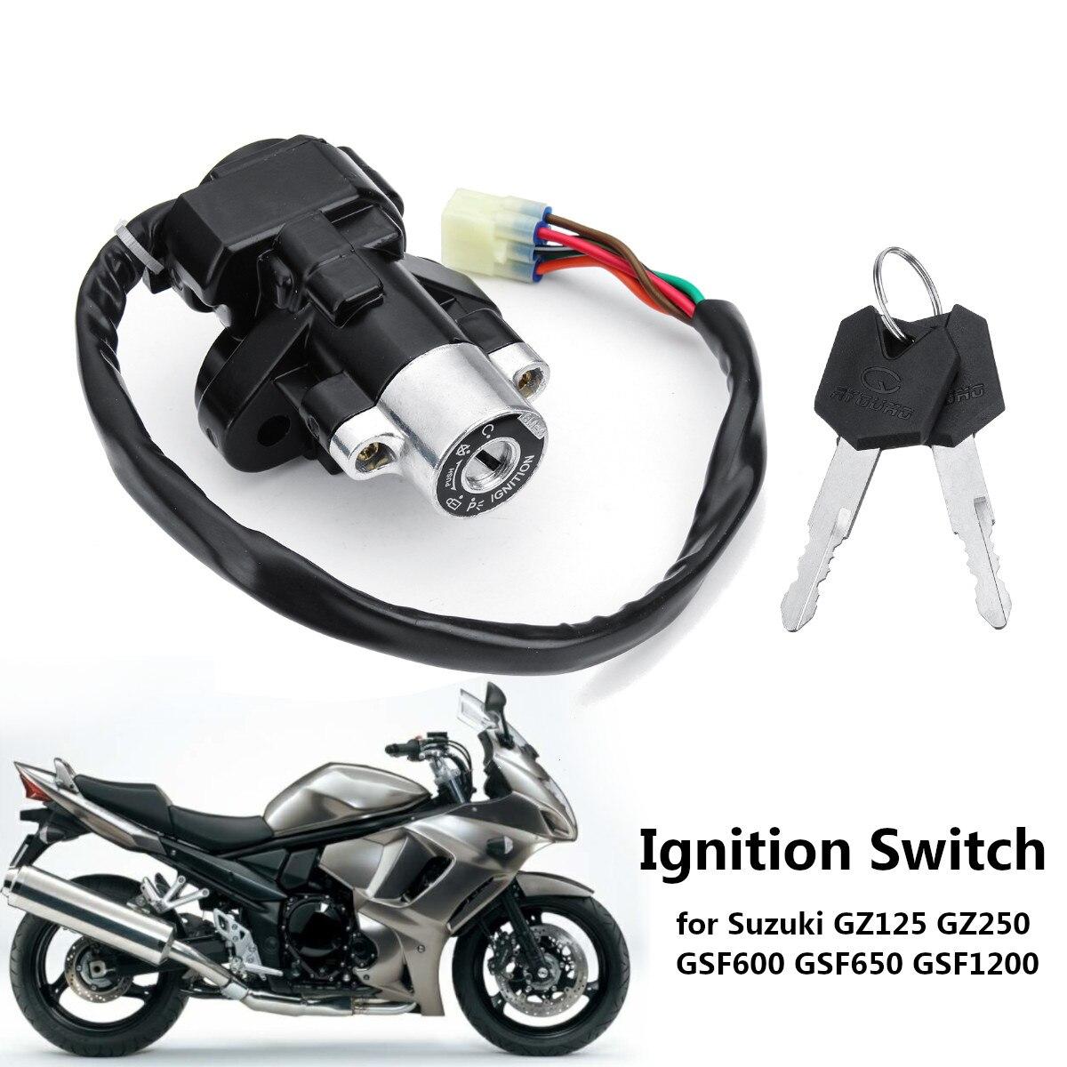 Interruptor de arranque con 2 llaves para Suzuki GZ125 1998-2003/ GZ250 1999-2011/ GSF600 GSF650 GSF1200