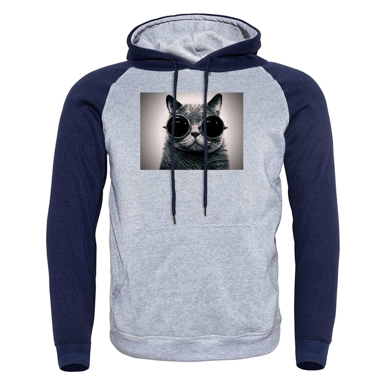 Gato legal com óculos de sol vintage impressão hoodies autmn inverno nova moda hip hop manga longa moletom masculino raglan streetwear