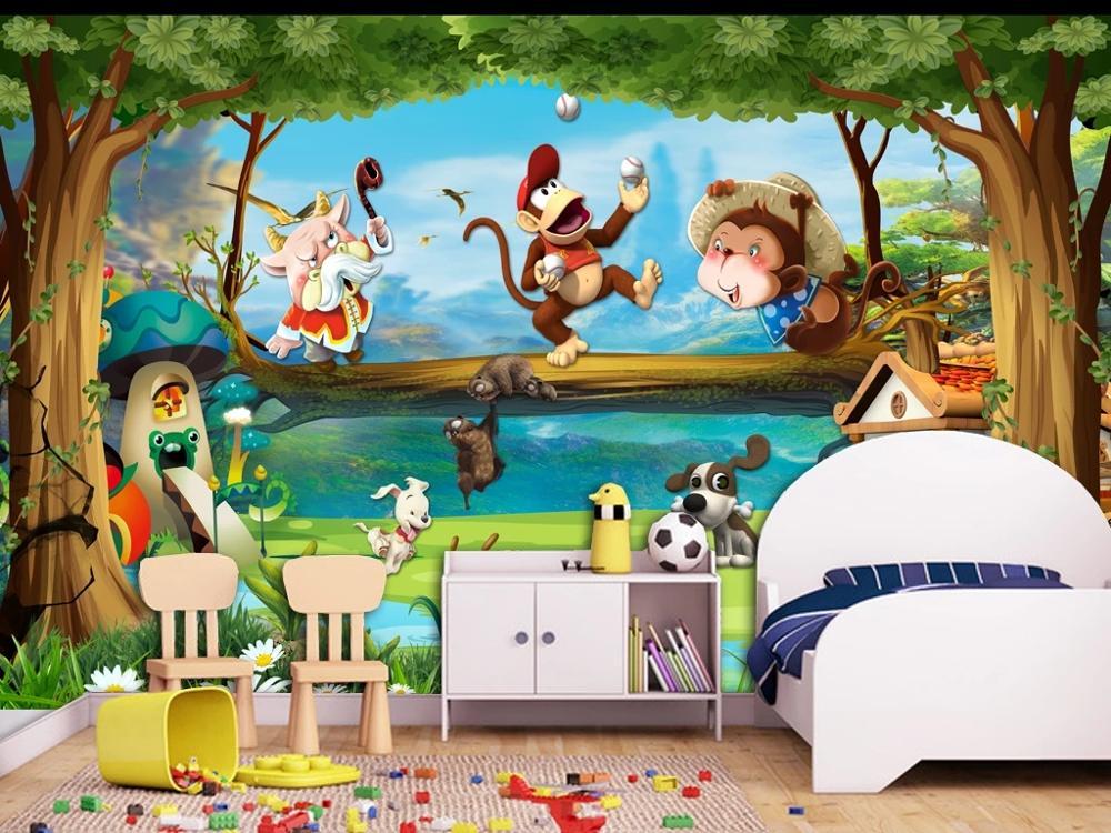 TV decoración de pared trasera profunda 5D en relieve personalizado Gran mural papel tapiz 3D cuento de hadas caricatura de mundo animal bosque mono dormitorio mural