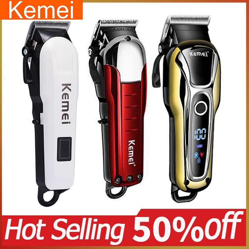 Cortadora de pelo profesional Kemei, afeitadora de barba para hombres, afeitadora de pelo de bajo ruido, cortadora de pelo eléctrica, pantalla de potencia 5