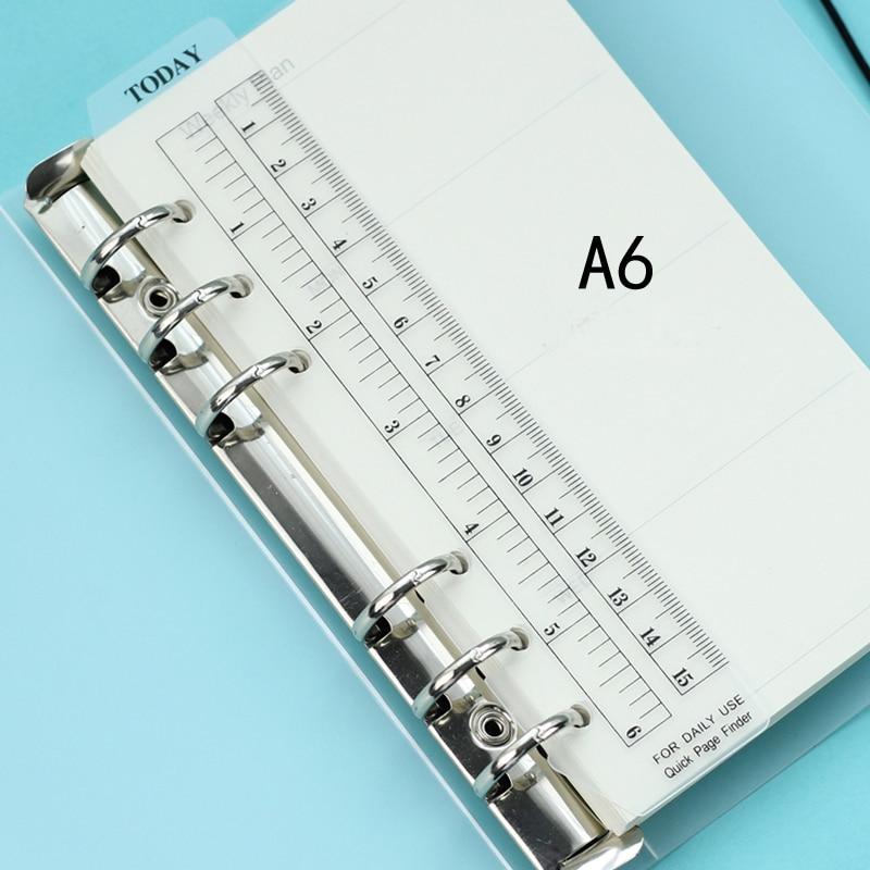 A6 tamaño plástico regla PP mate planificador Agenda para 6 agujeros hoja suelta espiral organizador de cuaderno PR001-2