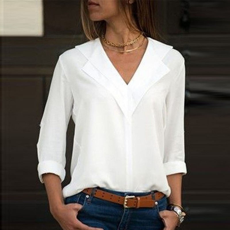 White chiffon shirt long sleeve double V-neck blouse and shirt top solid office shirt ladies shirt - CH22  - buy with discount