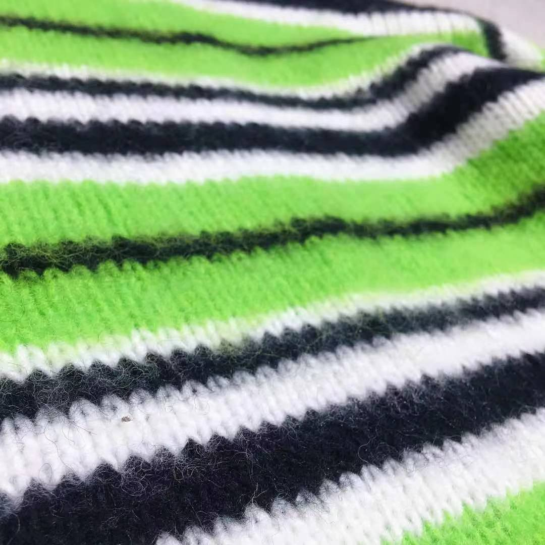 2021 Autumn And Winter New Sandwich Fruit Green Stripes Color Matching Wool Mohair Loose Logo Plastic Sweater Charming Women enlarge